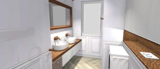Łazienka z miedzianym akcentem